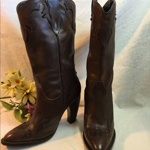 Justin Brown Leather High Heel Cowboy Boots Size